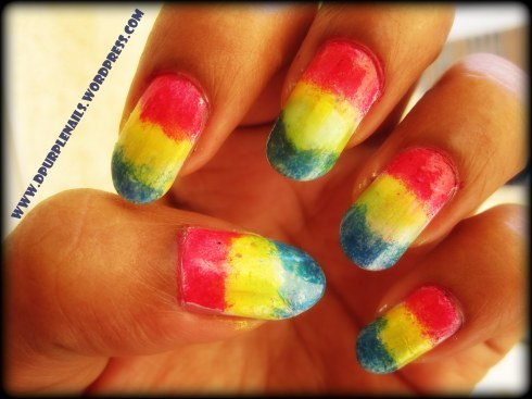 Smashed up rainbow nails